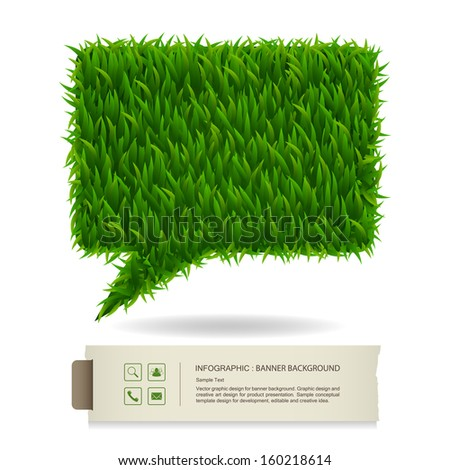 Abstract green grass bubble and vintage paper banner background, Natural banner idea concept - Vector illustration - stock vector