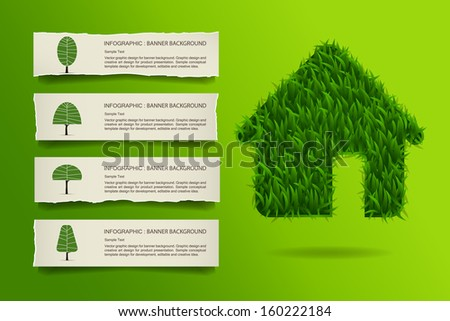 Abstract green grass house with vintage paper label background, Natural banner idea concept - Vector illustration - stock vector