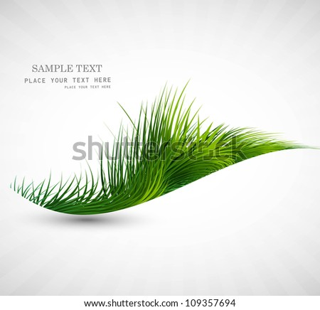 abstract green grass wave vector illustration - stock vector