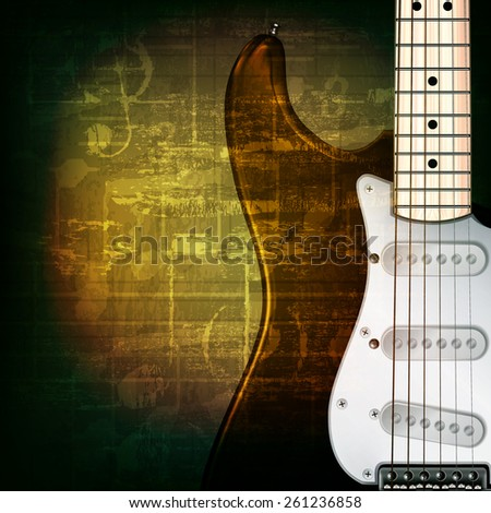 abstract green grunge music background with electric guitar - stock vector