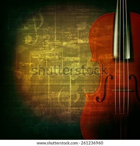 abstract green grunge music background with violin - stock vector