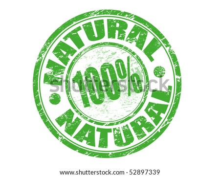 Abstract green grunge office rubber stamp with the text one hundred percent natural - stock vector