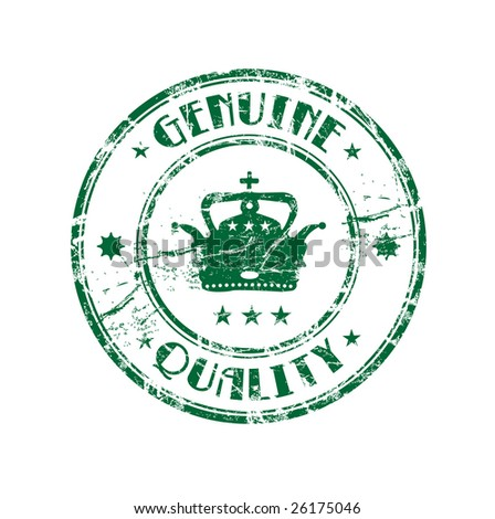 Abstract green grunge rubber stamp with crown shape in the middle and the text genuine quality written inside the stamp - stock vector