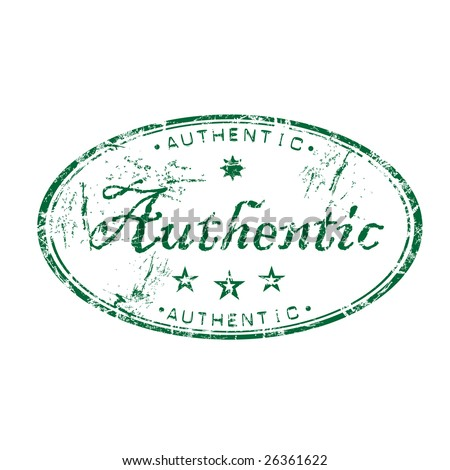 Abstract green grunge rubber stamp with small stars and the word authentic written in the middle of the stamp - stock vector