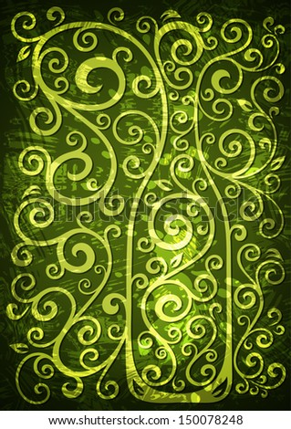 Abstract green grunge vector floral illustration.