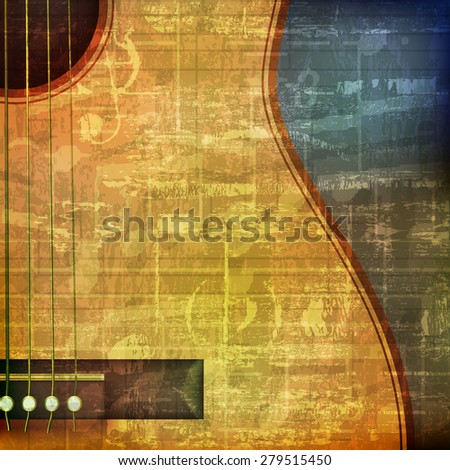 abstract green grunge vintage sound background with acoustic guitar - stock vector
