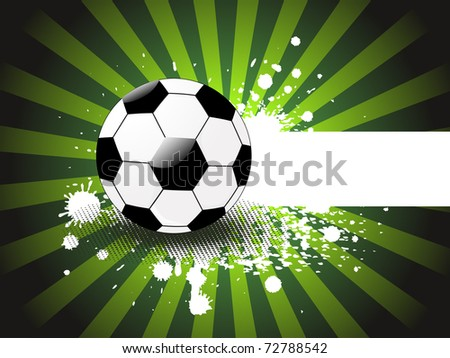 abstract green grungy rays, dotted background with isolated football