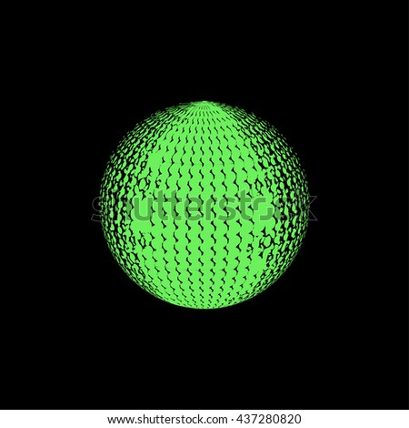 abstract green halftone. black background. logo design.