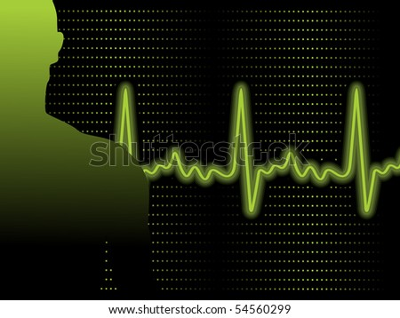 abstract green heart beat background with person silhouette