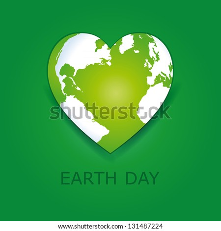 Abstract green heart together with green earth. - stock vector