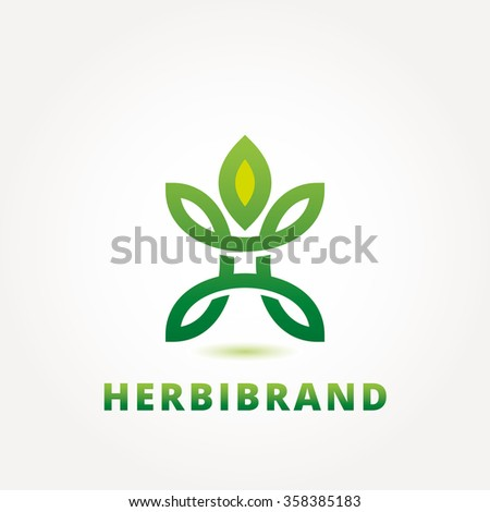 Abstract Green Leaf Logo Design Template Stock Vector 358385183 ...