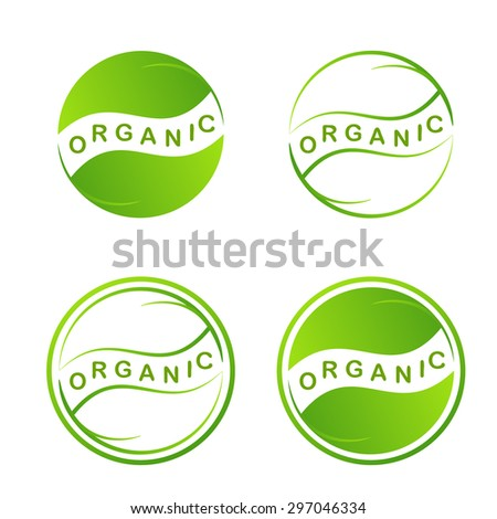 Abstract green leaf logo. Plant web Icon Isolated On White Background. Graphic Design eco symbols in circles. Eco Design Template. Creative Ecology Organic food concept. Vector illustration - stock vector