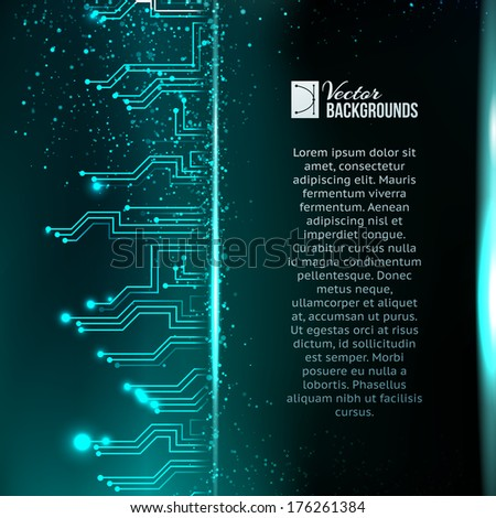 Abstract green lights background. - stock vector