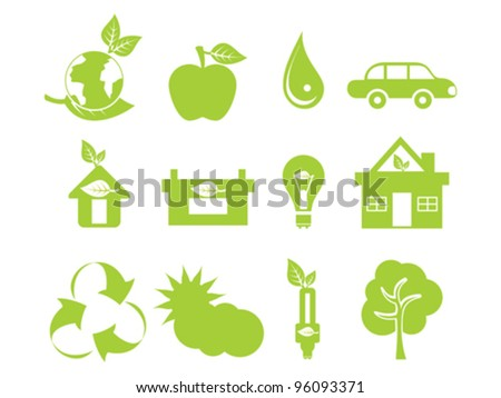 abstract green multiple eco icons vector illustration