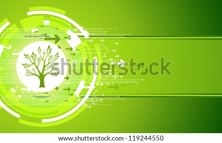 Abstract Green Nature Background. Tree and Arrows. - stock vector
