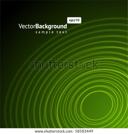 Abstract green radio wave background - stock vector
