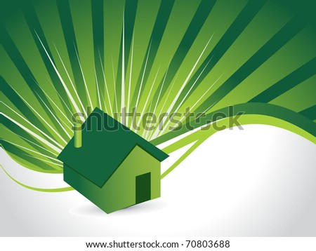 abstract green rays background with isolated green house