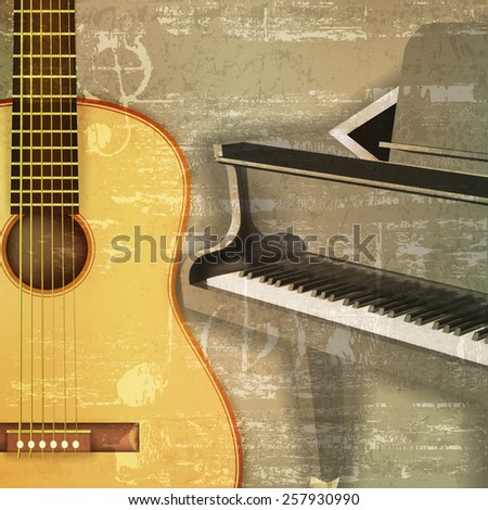 abstract green sound grunge background with grand piano and guitar - stock vector