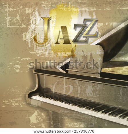 abstract green sound grunge background with grand piano and word Jazz - stock vector