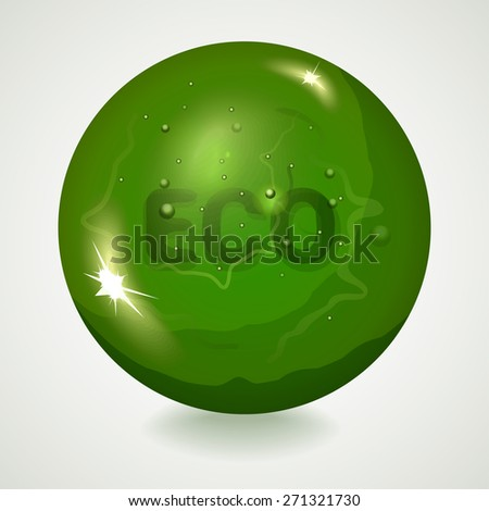 Abstract green sphere with inscription ECO within it. Vector illustration for graphic design. - stock vector