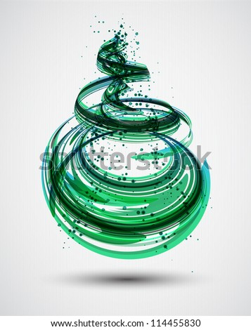 Abstract Green Spiral Background. Vector - stock vector