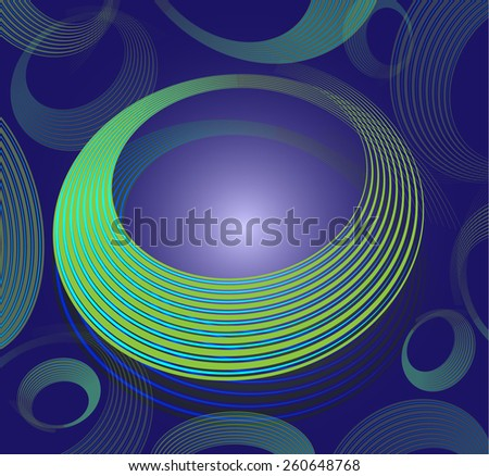 Abstract green spiral circle text box on blue background