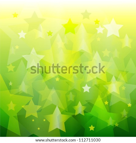 abstract green star bokeh background - stock vector
