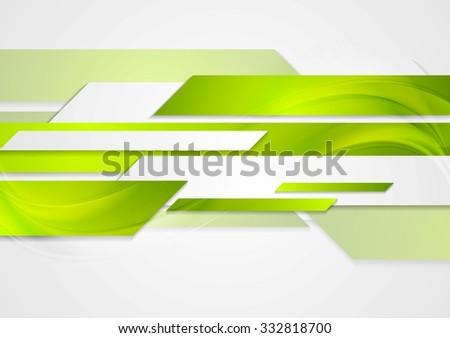 Abstract green tech wavy background. Vector design - stock vector