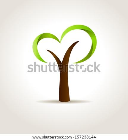 Abstract green tree. Vector eco creative concept - stock vector