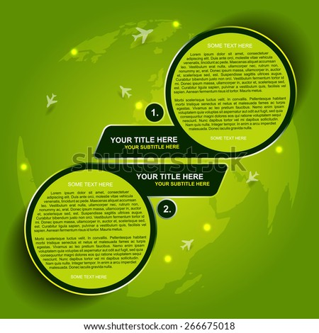 Abstract green vector background for transporting or spedition with two steps and airplane symbols on continents - stock vector