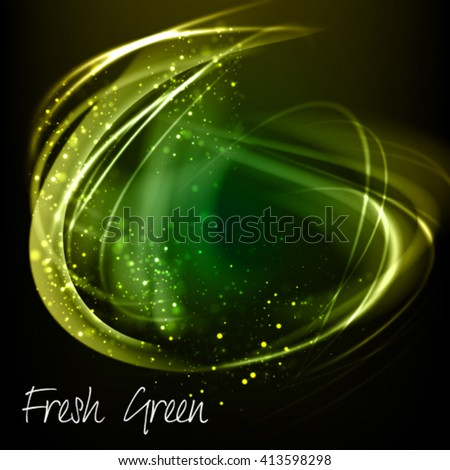 Abstract green vector background. Shining fresh frame with glowing filaments and golden dust
