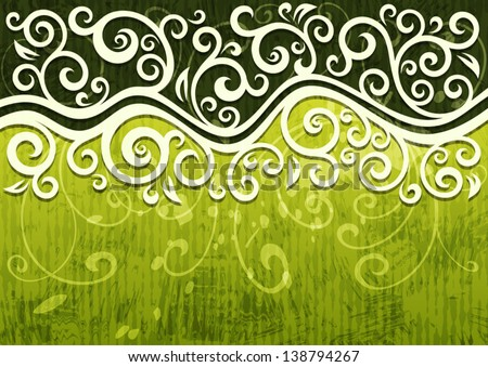 Abstract green vector floral illustration.