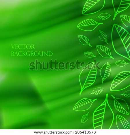 abstract green watercolor background with leaves