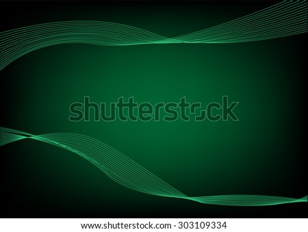 Abstract Green wavelengths and irregular lines on a dark background. Editable Clip Art. - stock vector