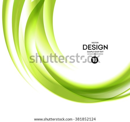Abstract green wavy lines.  Colorful vector background - stock vector