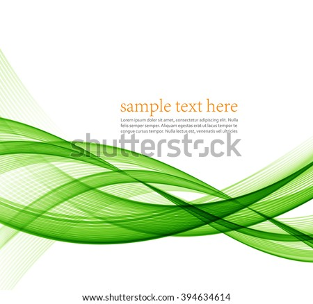 Abstract green wavy lines.  Colorful vector background.