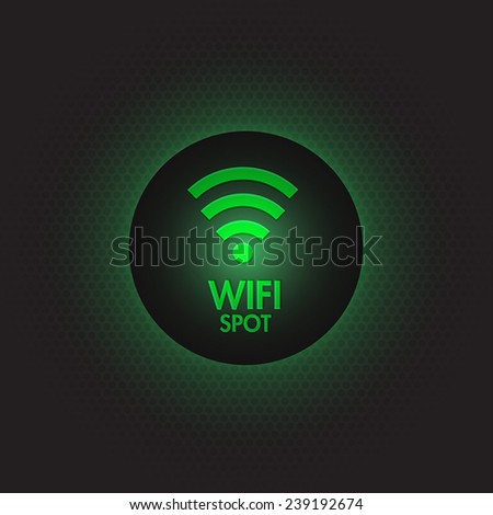Abstract green wifi spot vector design - stock vector