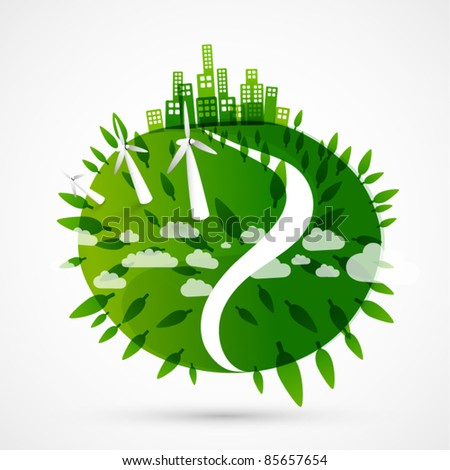 abstract green world illustration - ecology / wind turbines concept - stock vector