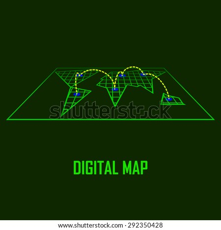 Abstract green world map, vector illustration. Business theme - stock vector