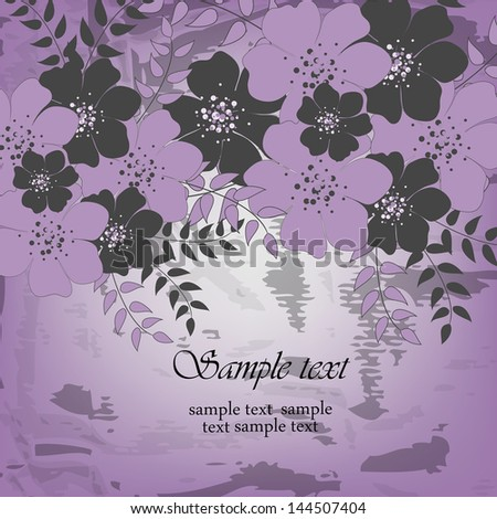 Abstract greeting card or invitation with floral background. Wedding card .