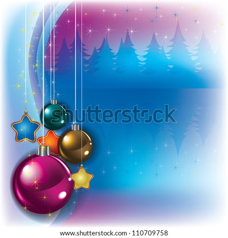 Abstract greeting with Christmas decorations and forest - stock vector