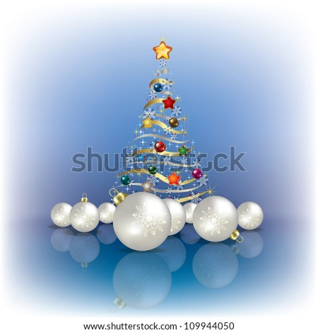 Abstract greeting with Christmas tree and decorations on blue - stock vector