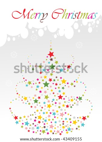 abstract grey background with colorful star pattern xmas tree