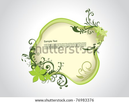 abstract grey background with isolated floral decorated frame - stock vector
