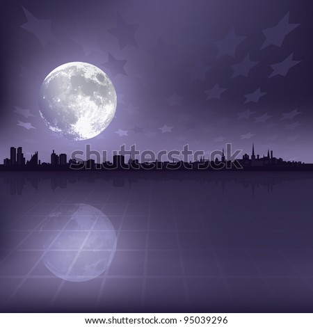 abstract grey background with silhouette of city and moon - stock vector