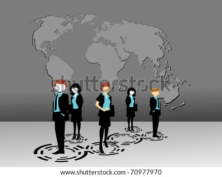 abstract grey map background with business people