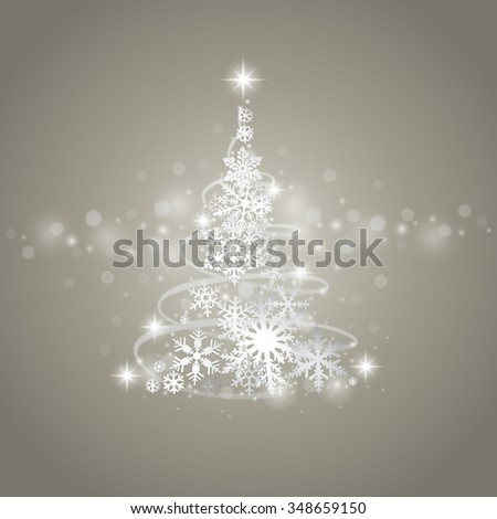 Abstract grey winter background with Christmas tree and snowflakes