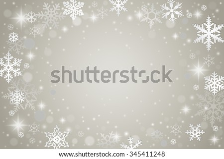 Abstract grey winter background with falling snowflakes