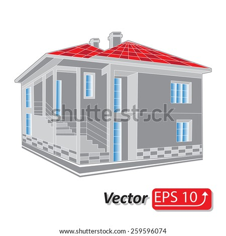 abstract  grey  with red roof icon of cottage cool detailed country house isolated on white background Architectural 3d vector illustration