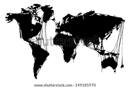 Abstract grim world map halloween map vector de stock149185970 abstract grim world map for halloween map isolated on white background gumiabroncs Images